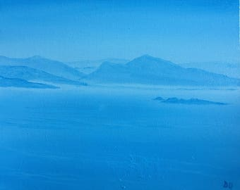 Blue sea and mountains