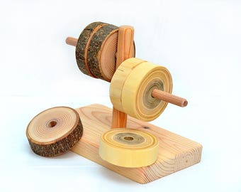 Primary tree ring sorter Wooden first toy, Montessori inspired wood sorting toy, Wooden waldorf stacking toy, Natural ring stacker Baby gift