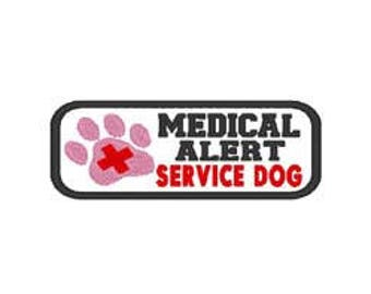 Medical Alert Service Dog Embroidery Patch Design, instant download, service dogs, emergency alert dog, emergency medical alert dog, dogs,