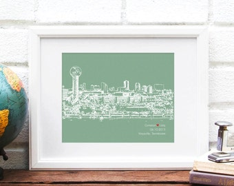 Knoxville Skyline Knoxville Tennessee City Print Personalized Engagement Gift Wedding Gift for Couple First Anniversary Bridal Shower Gift