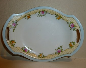 Vintage Hand Painted Nippon Dish With Floral Motif