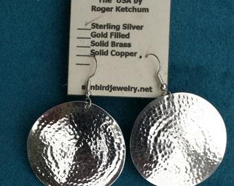 Sterling Silver Earrings Hammered
