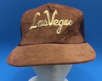Vintage Las Vegas Trucker Snapback Hat Adjustable Corduroy 1980s
