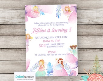 Fairy Invitation - Fairy Birthday Invitation - 3rd birthday - Fairy Party Invite - Watercolor Birthday Invitation - Printable Invitation!