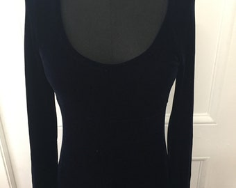 Vintage 90s Navy Blue BCBG Velvet Maxi Dress- Medium