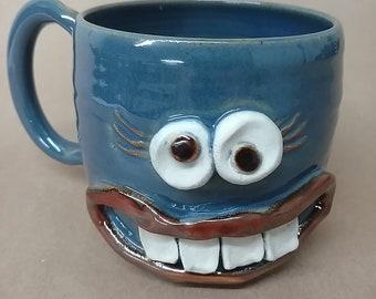 Teacher Appreciation Coffee Mug. Bright Blue Face Teacup by Nelson Studio, Alabama. Microwave Dishwasher Safe Stoneware Pottery Mug. Ug Chug