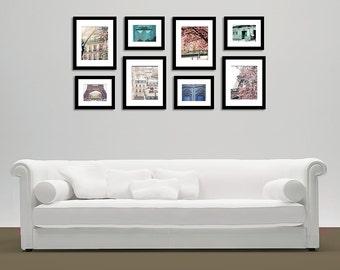 Paris Photography, Wall Art, Paris prints, pink paris, Paris photo set, paris door photos, Paris gallery wall photography set