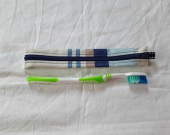 Pouch / Holster toothbrush coated fabric (1) white blue stripes