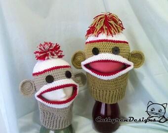 Sock Monkey Ski Mask,INSTANT DOWNLOAD Crochet Pattern