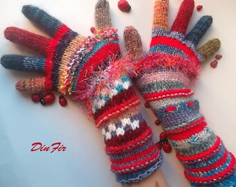 Women Size M Wool OOAK Ready To Ship With Fingers Mittens Bohemian Wrist Warmers Winter Fingered Gloves Hand Knitted Striped Multicolor 91