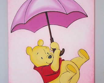 """Winnie the Pooh - Original Artwork - Acrylic Painting - 14"""" x 18"""" inches stretched canvas - Art Decor Kids"""