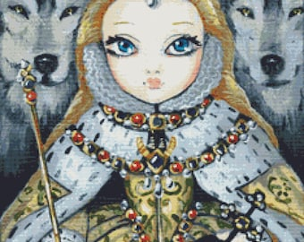 Modern Cross Stitch Kit By Simona Candini 'Queen Elizabeth' - 14 or 25 counted cross stitch