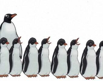 Hannukah Jewish Greeting Card - Penguin Menorah