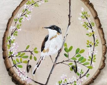 key holder, home decor, art on wood, nature inspired art, art for home, bird decor, gift for home, country decor, farmhouse decor, bird art