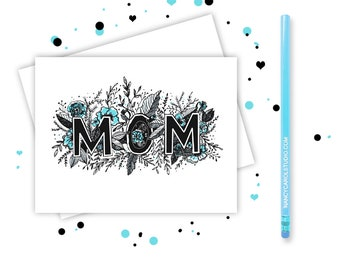 Happy Mothers Day - Hand Illustrated Greeting Card- Mothers Day  - Card for Mom