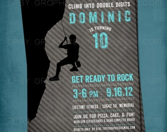Ready to Rock. Rock Climbing Birthday Party Invite for Big Kids by Tipsy Graphics