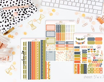 Autumn Harvest HORIZONTAL Weekly Kit // 130+ Matte Planner Stickers // Perfect for your Erin Condren Life Planner // WKH0410