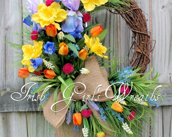 Purple Iris & Daffodil Spring Garden Wreath, Real touch Tulips Bellflowers clover Country Floral Wreath, large Mothers Day Floral Wreath