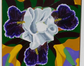 """Purple Iris -  original painting by Julie Miscera 16""""x20"""" acrylic on stretched canvas"""