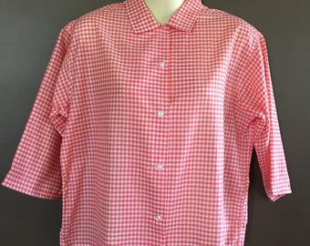 Rockabilly blouse collar wear up or down buttons  1950's checker pattern gingham size medium large thin comfortable cool broadcloth blend