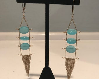 Vintage Gold & Blue Chandelier Earrings