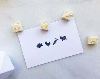 Meal option rubber stamps, hand carved rubber stamp, wedding meal option, food option