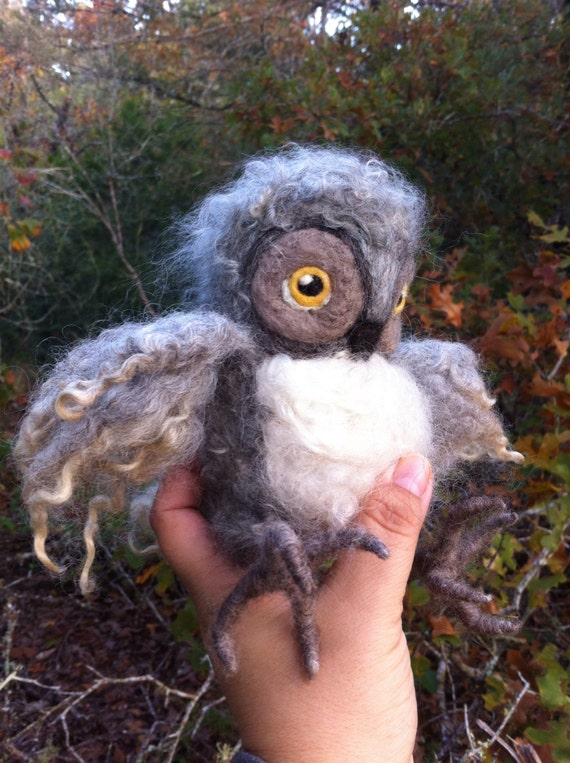 Needle Felted Fluffy Owlet Made to Order