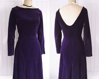 Vintage 60's Deep Purple Velvet Button Cuff Skater Dress