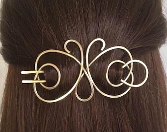 Butterfly Hair Barrette Brass Hair Bun Holder Gold Hair Fork U Shaped Hair Pin Hair Clip Long Hair Accessory