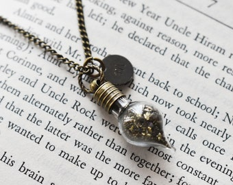 Pyrite Dust Necklace- Custom Initial Necklace-  Magic Stone Dust Jewelry- Antique Brass Bottle Pendant Charm Necklace- Phial Vial Pendant