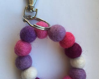 Lovely felt ball key ring /bag charm in pinks and purples
