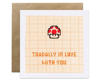 Toadally In Love With You - Nintendo Card - Valentines Love Husband Wife Girlfriend Boyfriend Geeky