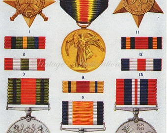 1950 Antique BRITISH MEDALS RIBBONS print 2, military orders, lithograph based chart