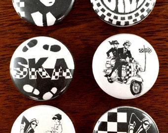 "2 Tone Ska 1"" pin back buttons and Magnet sets of 6"
