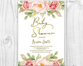 Floral baby shower invitation, watercolor flowers, baby girl invites, boho baby shower invitation, rustic baby shower, gold and pink invite