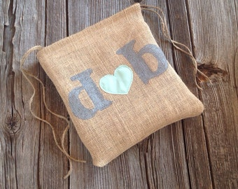 Dollar Dance Bag - Money Bag - Wedding Bag - Wedding Dance Bag - Burlap Bag - Personalized Wedding - Mint Wedding - Burlap