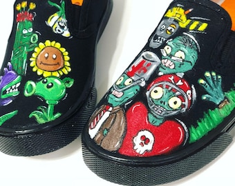 Hand painted Plants vs zombies inspired kids canvas shoes