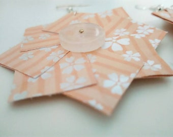 Paper earrings, handmade earrings, origami earrings, pendant earrings. Peach