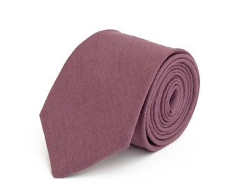 Purple linen  necktie, wedding necktie, linen necktie,  groomsmen necktie,  purple necktie, pyrple bow tie for men