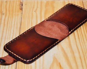 Vintage Leather business card holder/ Credit bank card holder/Wallet/Full grai leather/For men and woman