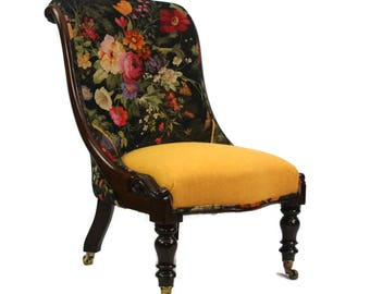 Antique William IV Rosewood Ladies Chair fully restored and reupholstered