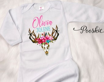 Antler Newborn Gown, Coming Home Outfit, Floral Baby Gown, Baby Girl Coming Home, Personalized Baby Gown, Custom Newborn Gown, Baby Gift S8