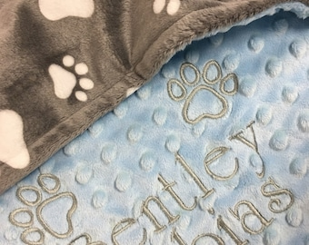 Paw Print Blanket, Gray Paw Print Dog Blanket, Pink Paw Print Puppy Blanket, Personalized  Puppy Dog Blanket, Medium Size