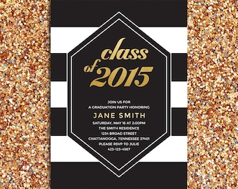 Printable – Modern, Chic Stripes with Faux Gold Foil Calligraphy Graduation Party Invitation
