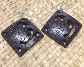 "Carved 2"" Square Coconut Shell Earrings"