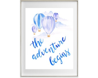 Blue Hot Air Balloon Watercolour Print (Choice of 6), baby boy, nursery decor, children's wall art, pastel, nursery art, artworks
