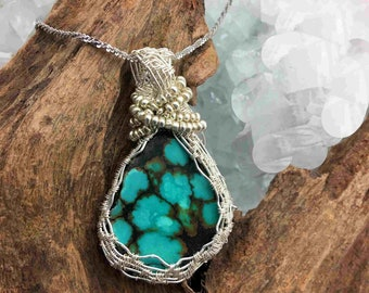 Woven Wire Wrapped Natural Turquoise Pendant Necklace - Wrapped with Sterling and Sterling Chain