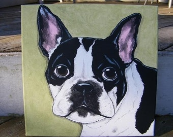 Custom Pet Portrait Painting 12x12 handpainted Pet Memorial