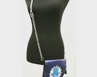 Handpainted Hansa in cross-body leather bag