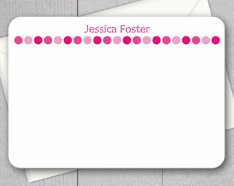 Pink Polka Dot Note Cards - 12pk, Custom Flat Note Cards, Printed with Envelopes (NC-016)